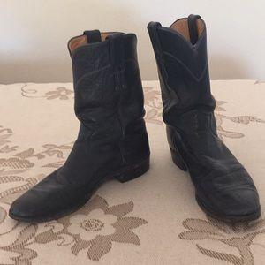 Vintage black leather Justin roper boots